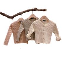 2020 jesień nowy sweter dla dziewczynki pojedyncze piersi dziecko dzianiny V Neck Boys Baby długi sweter z rękawem maluch dziecko dziergany sweter tanie tanio Na co dzień COTTON W wieku 0-6m 7-12m 13-24m 25-36m Unisex Pełna REGULAR Pasuje prawda na wymiar weź swój normalny rozmiar