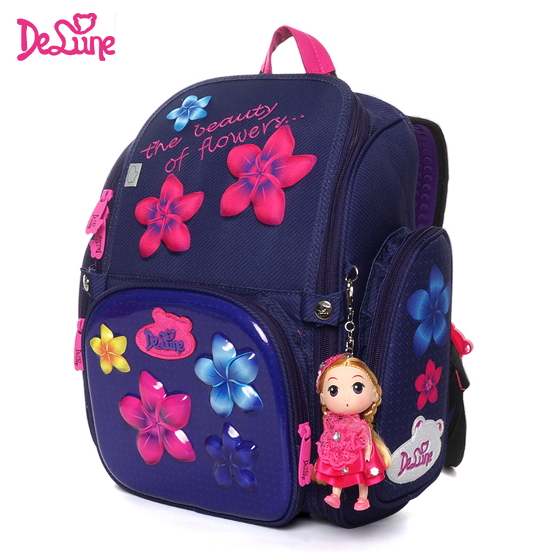 Delune 2019 New Cartoon School Bag Orthopedic Children's Backpack for Girls 3D Owls Cat Model Mochila Infantil Grade 1-3 Satchel
