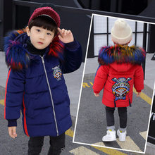 Kids Winter Jacket for Boy Hoodies Cotton-Padded Jackets Outerwear Teenage Parka Coats Clothes With Fur