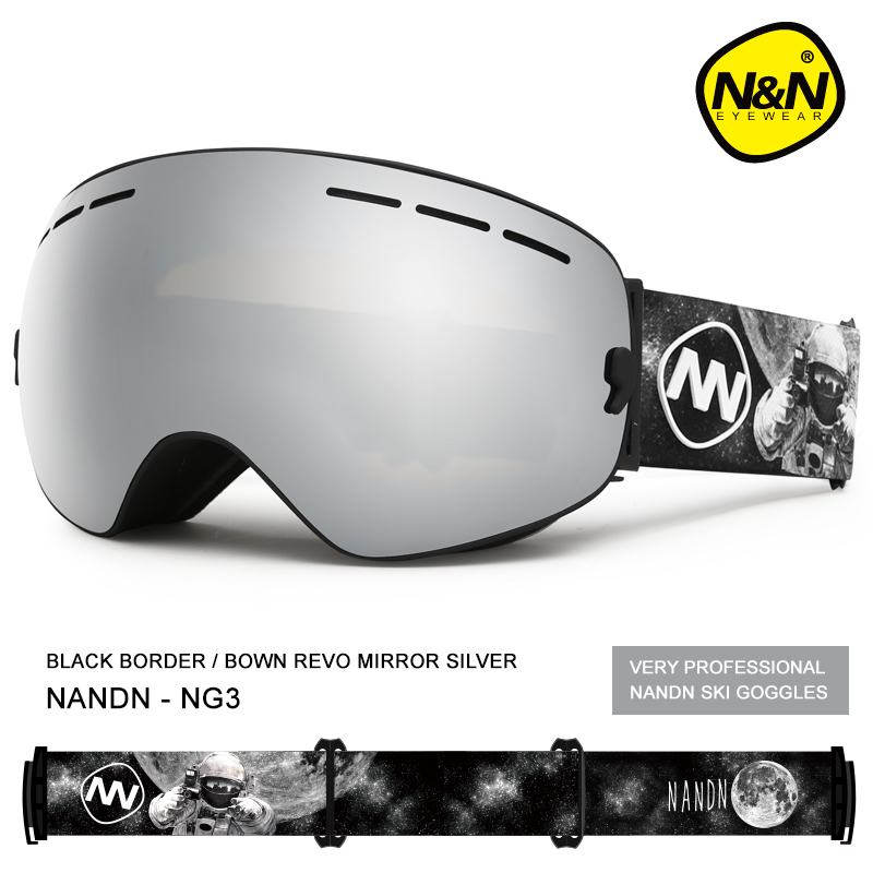 NANDN Ski Goggles Snowboard Double Layers UV400 Anti-fog Big Ski Mask Glasses Skiing