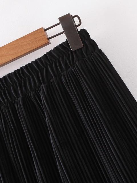 Chic Women Pleated Skirt Spring 2020 New Fashion Cascading Ruffles Black Bottom Modern Lady Mid-Calf Skirts 3