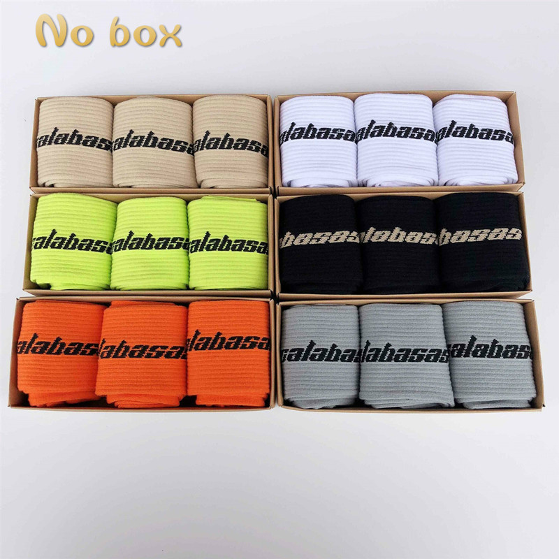 1 Piece=3 Pairs Fashion Men's Cotton Socks Ladies Streetwear Kanye West Ins Crew Socks Hip Hop Calabasas Socks Skateboard Socks