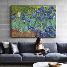 Van Gogh Garden Iris Oil Painting Reproductions on Canvas Posters and Prints Scandinavian Wall Art Picture for Living Room