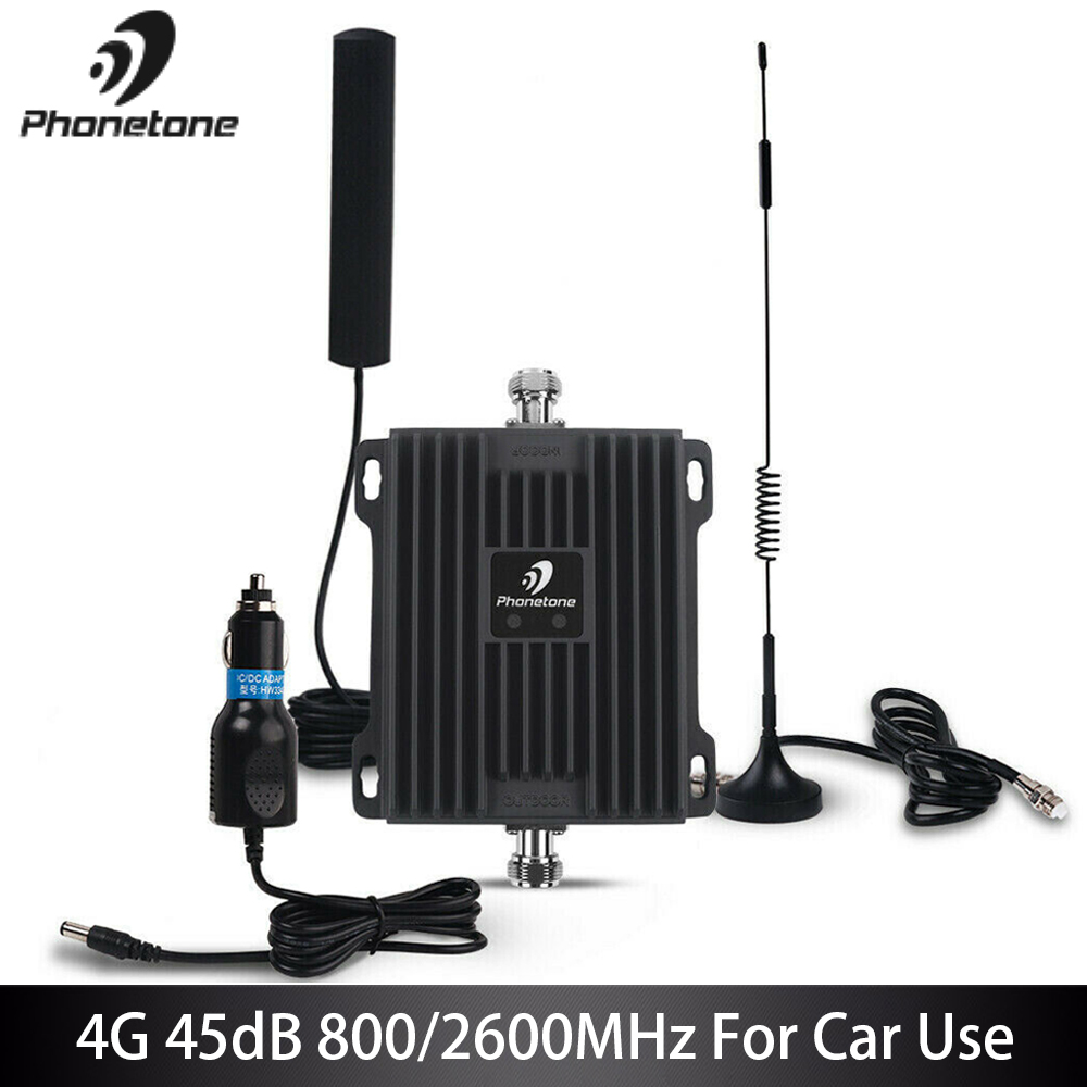 Cellular Signal Booster 4G LTE Amplifier 800/2600MHz Gain 45dB Communication Mobile Network Booster Repeater For Car Truck Boat
