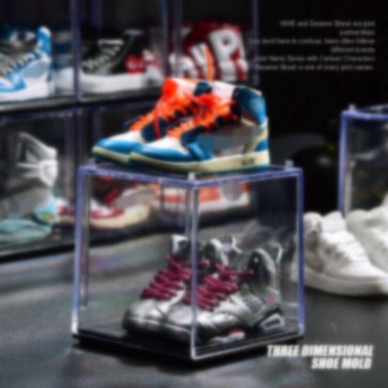 Drop shipping 3d mini tênis sapatos chaveiros & mini sapato chaveiros com caixa de exibição transparente