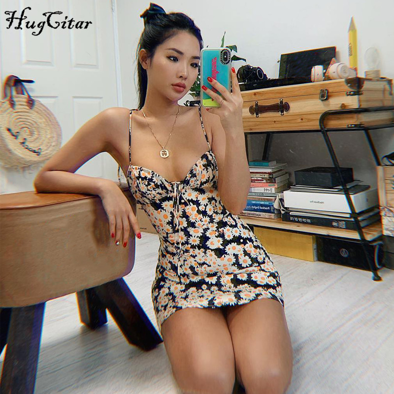 Hugcitar 2020 small daisies print bandage sleeveless sexy mini dress summer women fashion streetwear outfits sundress