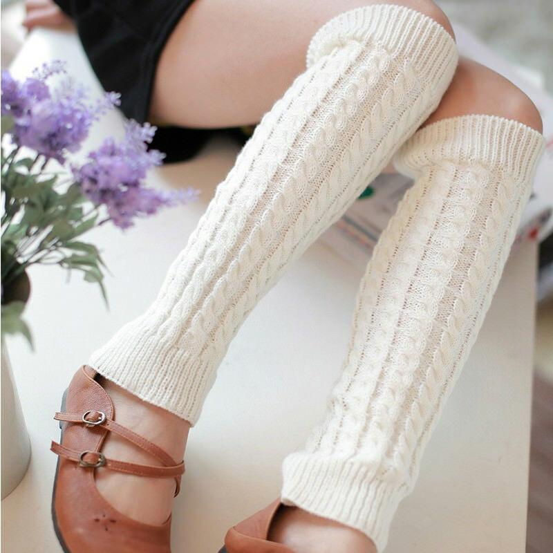 Winter Women Soild Color Knitted  Warmer Leggings Boot Warm Knee High Knit Crochet Legging Boot Socks
