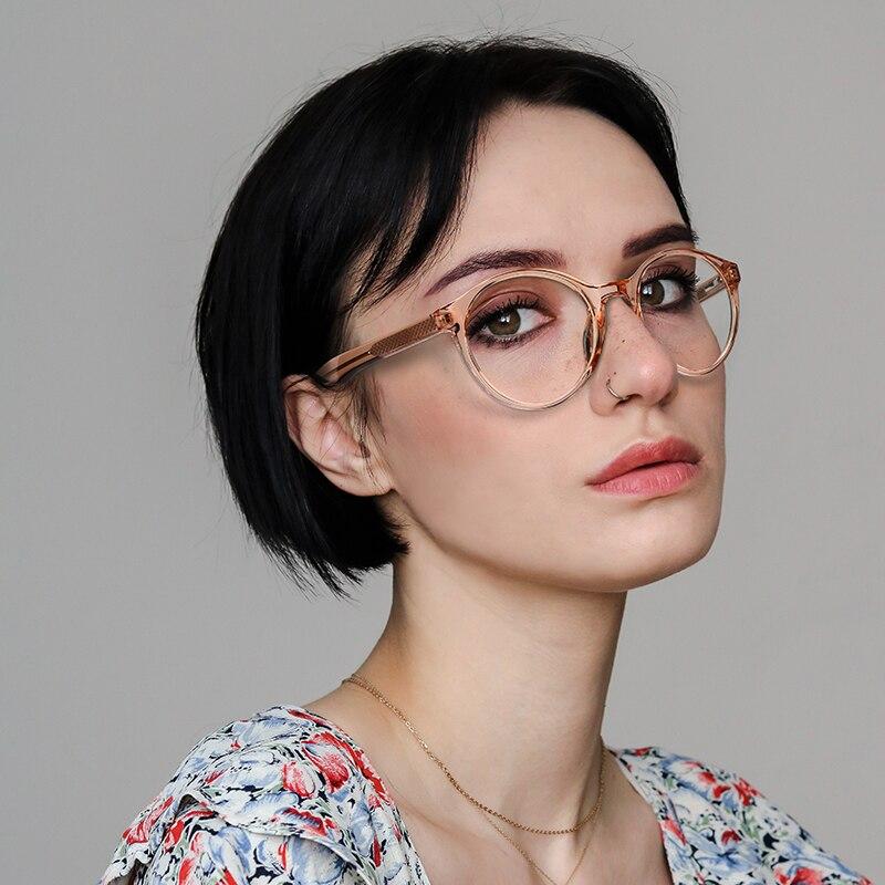 Fashion Round Glasses Frame Women Trending Styles Brand Design Optical Computer Glasses Oculos De Sol Eyewear RW2007