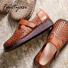 Retro Sandals Women Summer Flat Soft Bottom Sandals Non-slip Leather Shoes Hollow flat Sandals Hook & Loop Wide Shoes for Woman
