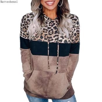 Leopard Print Hoodie Sweatshirts  Long Sleeve Oversize Pullover Loose Pocket  1