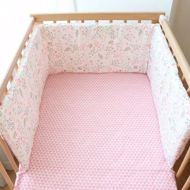 Baby Crib Bumper For Newborns Soft Cotton Bed Bumper Detachable Zipper Baby Room Decoration Infant Cot Protector 1Pcs 180cm(China)