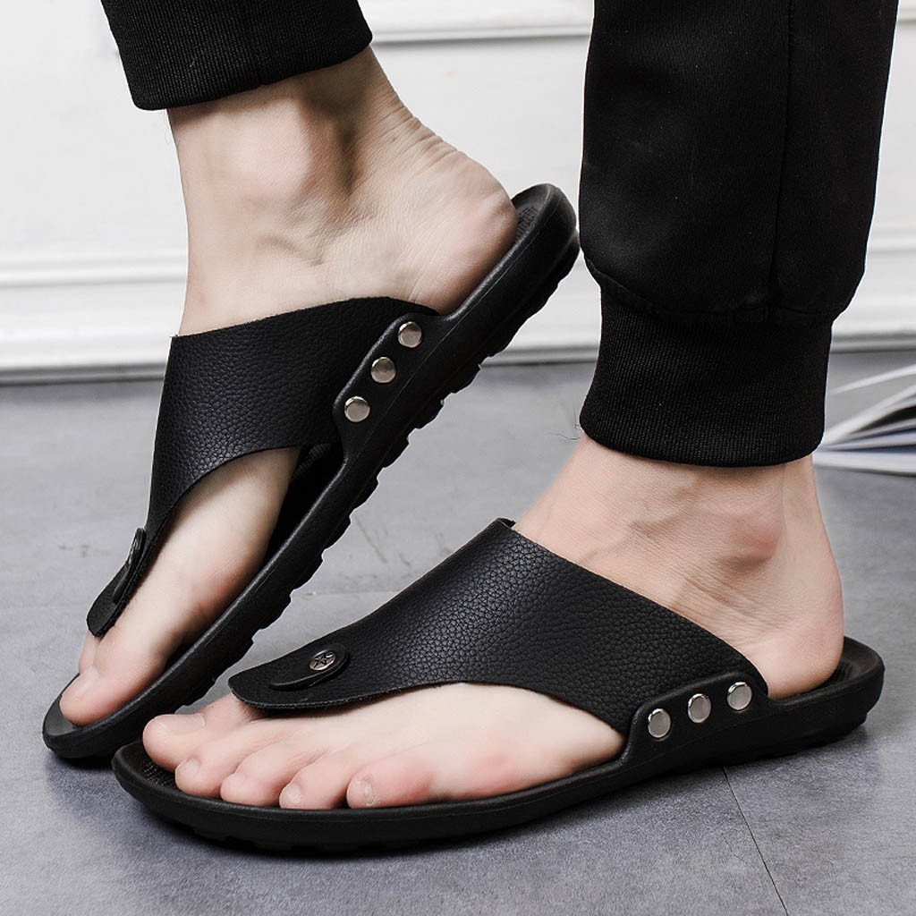 Flip Flop Slipper Shoes T-Strap Four-Season Indoor Comfortable Summer Open-Toe Men title=