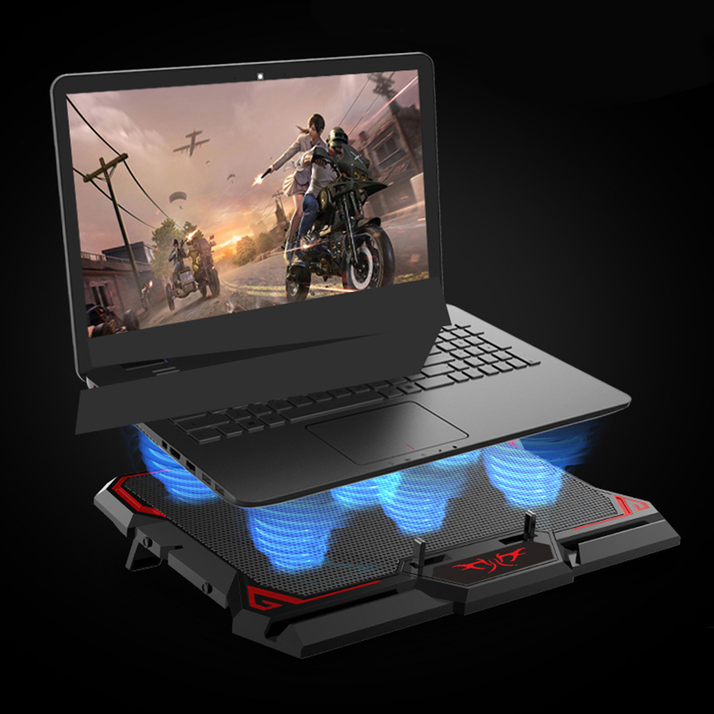 17inch Gaming Laptop Cooler fans Cooler Cooling Pad Six Fan Led Screen Two USB Port 2600RPM Laptop Cooling Pad Notebook Stand image
