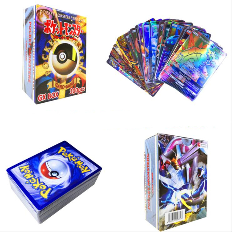 100pcs 80EX 20MEGA Non Repeat Shining Cards Game Battle Carte Trading Children Pokemon Card Toy