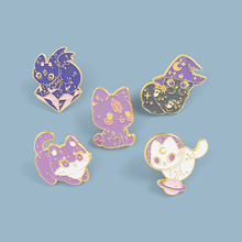 Moon Starry Sky Cat Enamel Pin Purple Wizard Hat Witch Space Cat Kitten Brooches for Women Lapel Pin Magic Badge Jewelry Gift