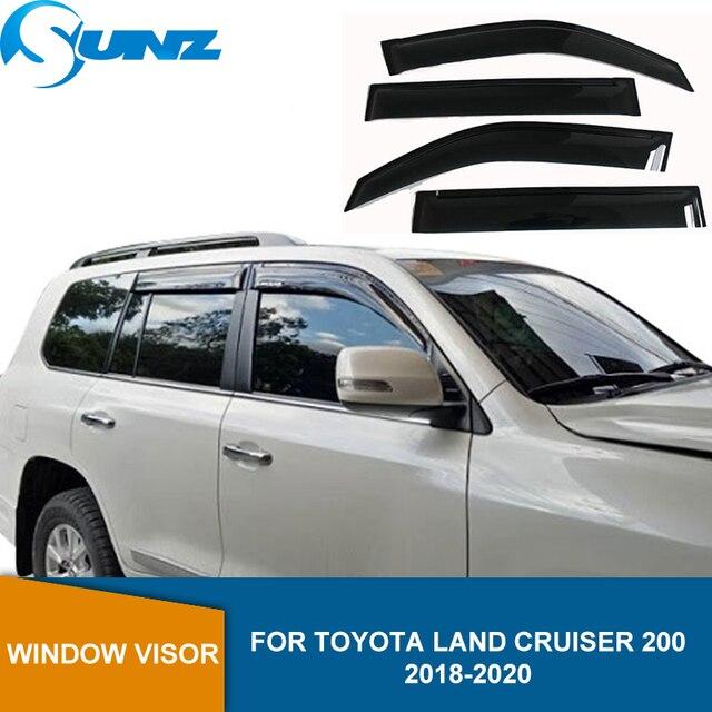 Yan pencere saptırıcı Toyota Land Cruiser 200 için FJ200 LC200 2018 2019 2020 akrilik siyah pencere kalkanı güneş yağmur saptırıcı SUNZ