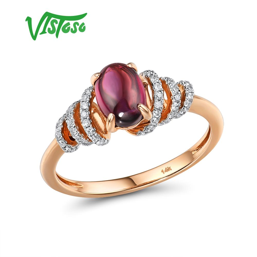 VISTOSO Pure 14K 585 Rose Gold Ring For Women Shining Diamond Rhodolite Garnet Luxury Wedding Engagement Elegant Fine Jewelry