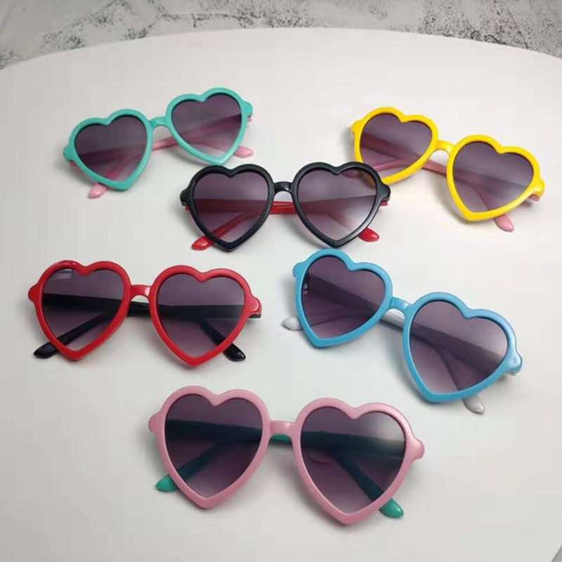 Kid Polarized Sunglasse Baby Safe Silicone Heart Shape Glasses Infants Fashion Sun Glasses Girls Sun Protection Hair Accessories