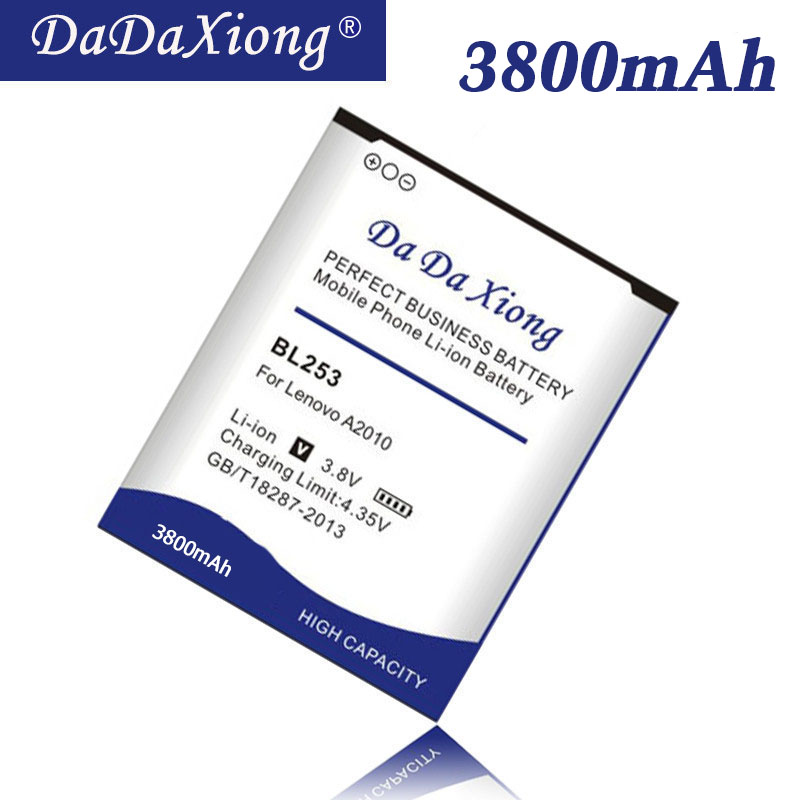 Da da xiong original 3800 mah bl 253 bl253 bateria para lenovo a2010 a a1000 a1000m a2580 a2860 bateria do telefone móvel em estoque