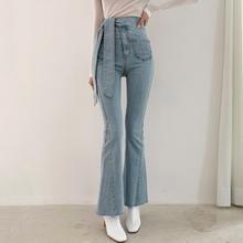 Mom jean femme 2020 w koreańskim stylu szykowny vintage spodnie damskie zasznurować wysokiej talii casual slim jeansy rozkloszowane spodnie bell bottom jeans tanie tanio COTTON Pełnej długości Osób w wieku 18-35 lat Streetwear Zmiękczania Wysoka Sznurek Spodnie pochodni REGULAR light