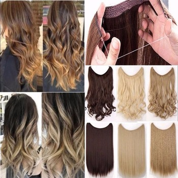 JINKAILI 24 Women Invisible Wire No Clips in Fish Line Hair Extensions Straight Wavy Long Heat Resistant Synthetic Hairpiece