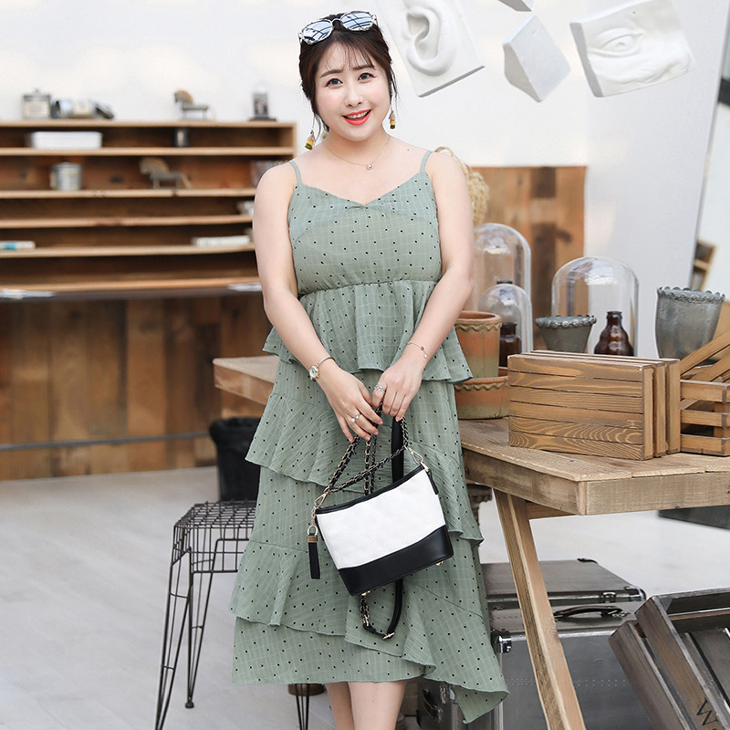 [Xuan Chen] Large GIRL'S Large Size Dress 2019 Summer New Products Irregular Cake Dress Polka Dot Strapped Dress 1725