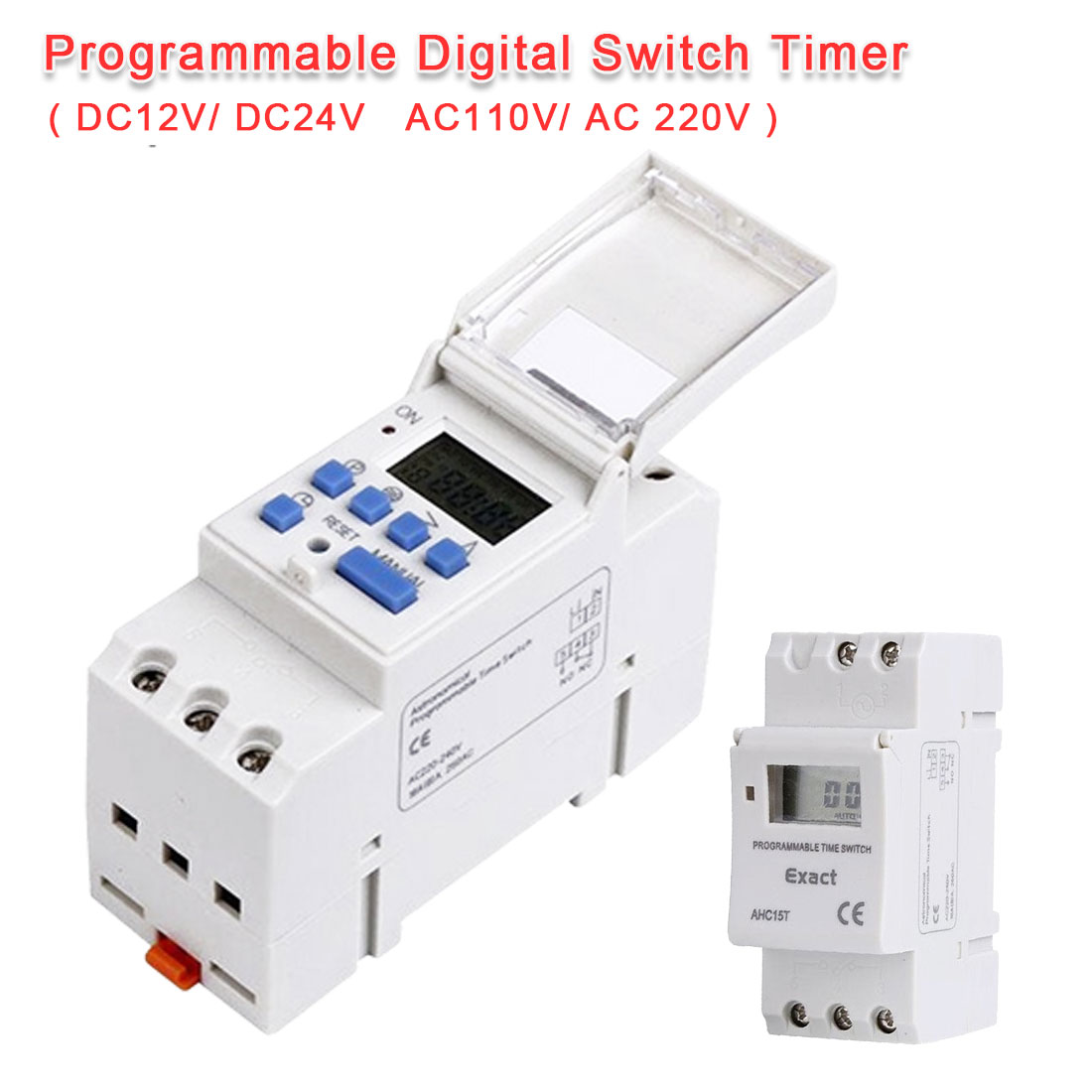 UK DIN Rail Digital LCD Power Programmable Timer DC 12V  15A Time Relay Switch