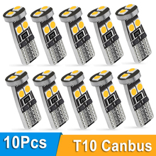 10x 194 168 T10 W5W LED 6SMD Canbus Error Free LED Bulbs Super Bright 3030 Chips Car Dome Reading Lights License Plate Auto Lamp 1pcs t10 5050 6smd led car canbus no error width license plate light bulb tail side turn signal lamp super bright orange lights