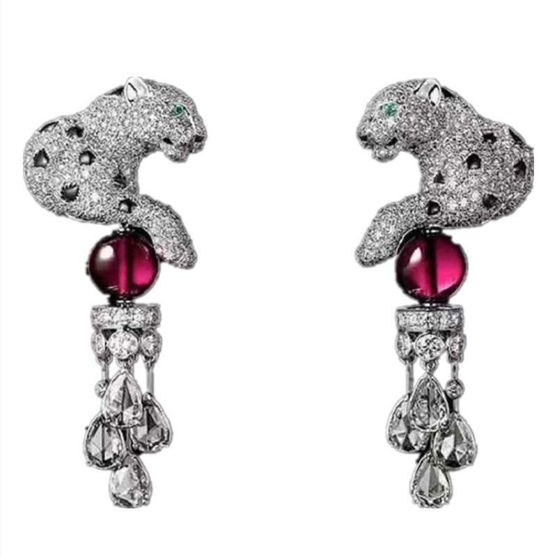 S925 Leopard Animal Dangle Earring Paved Cubic Zirconia Panther Waterdrop Tassel With Crystal Ball Earrings For Women