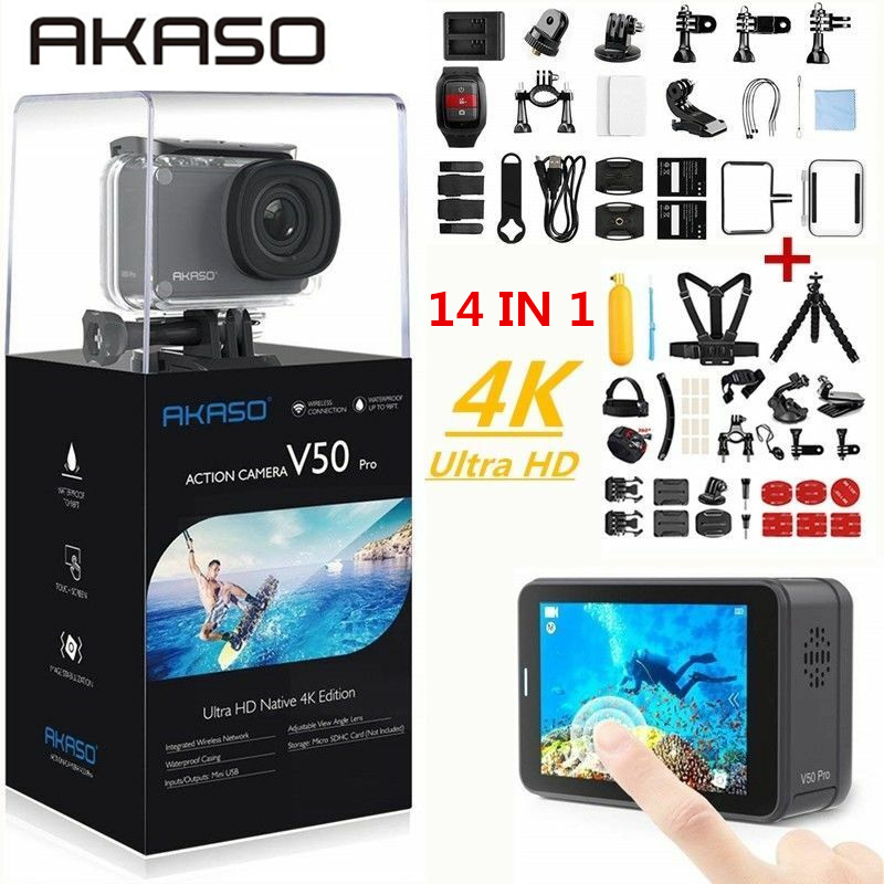 AKASO V50 Pro Native 4K/30fps 20MP WiFi Action Camera EIS Touch Screen 30m Waterproof 4k Sport Camera Support External Micro 2