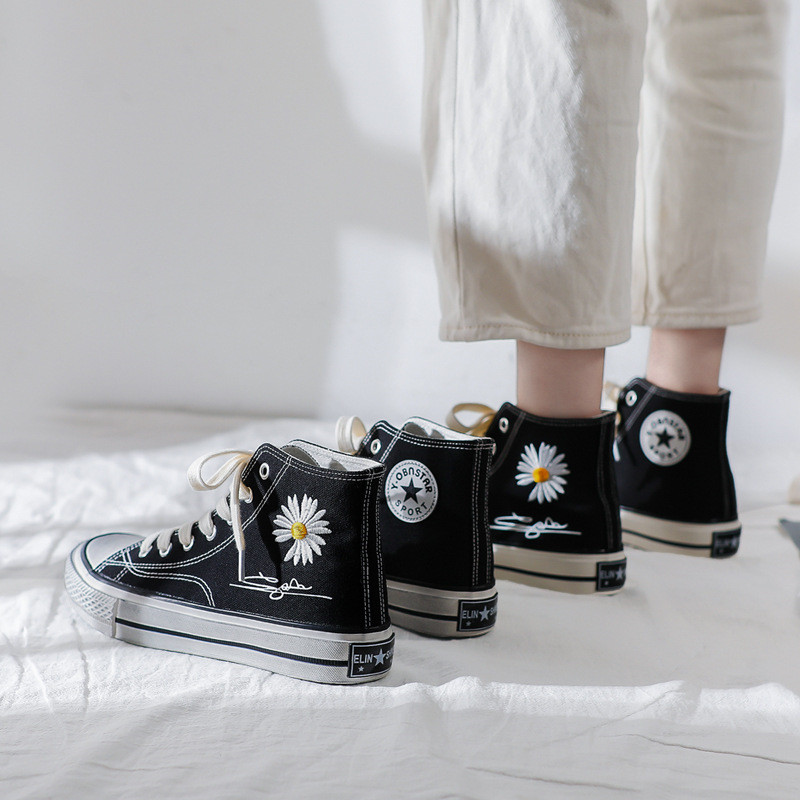 [Kwon Ji Yong/G] Peaceminusone PMO Shoes Fragments Daisy Flower Casual Shoes Flats Canvas Sneakers