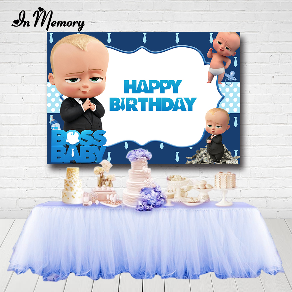 InMemory Custom Photography Backgrounds Blue Boss Baby Theme Boys 1st Birthday Party Backdrops For Photo Studio Photocall