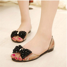 Transparent Summer Shoes Woman Jelly Shoes Rhinestone Bow Wo