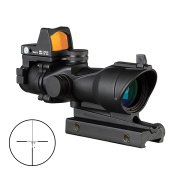 4x32 Hunting Optics Scope Hunting Sight Airsoft with Docter Mini Black Scopes Red Dot Sight Light Sensor Chasse shipping free hot sale 4x32 acog style red fiber rifle scope with mini red dot sight for hunting bwr 046r