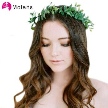 MOLANS regulowane liście korona włosów boże narodzenie ślubny kwiat korona boho ślubne wieniec kwiatów kobiety oddech włosów nakrycie głowy korona
