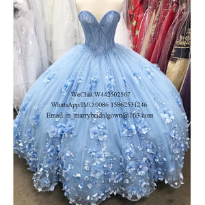 Image 5 - Blue Sweet 16 Quinceanera Dresses 2020 Ball Gown Off Shoulder 3D Flowers Plus Size Cheap Cinderella Debutante Vestidos 15 Anos