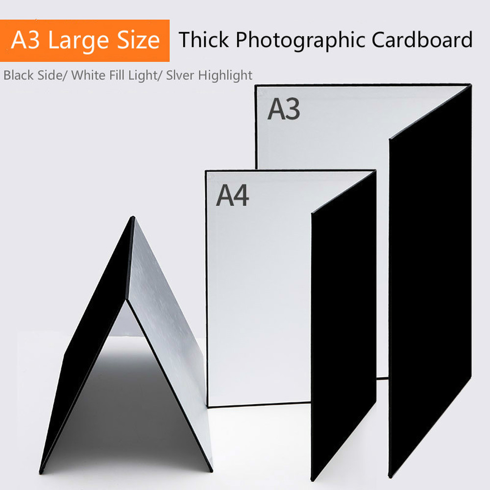 A3 A4 Camera Photography Accessory Collapsible Cardboard White Black Silver Reflector Absorb Light Thick Reflective Paper