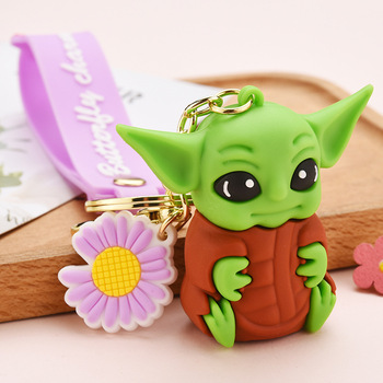 Star War Yoda Baby Keychain Hot Movie Cute Jedi Mentor Key Chain Charm Beautiful Doll Bag Pendant Keyring image
