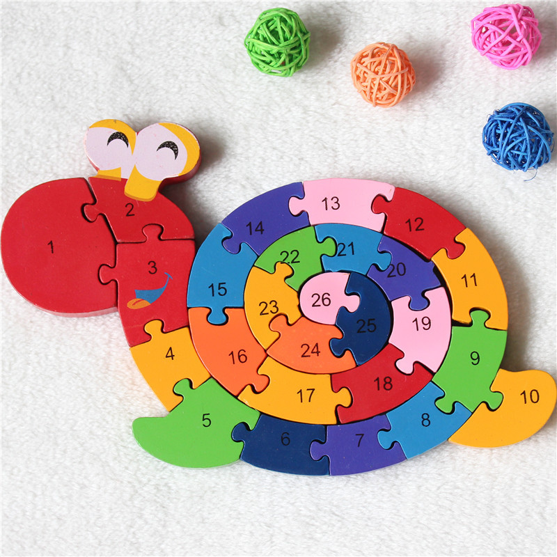 New Educational Toys Brain Game Kids Winding Snail Figure Wooden Toy Wood Kids 3D Puzzle Wood Brinquedo Madeira Kids Puzzles