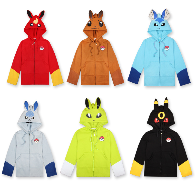 New Hot Cosplay Eevee Pocket Monster Anime Coat Sweatshirt Casual Pullover Fashion Tracksuit Thickened Hoodie Gifts For Children