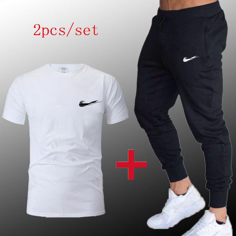 Men Sportswear Spring Windproof Gym Sport Suit 2019 Breathable Fabric Tracksuit Jogger Jogging Jacket + Trousers