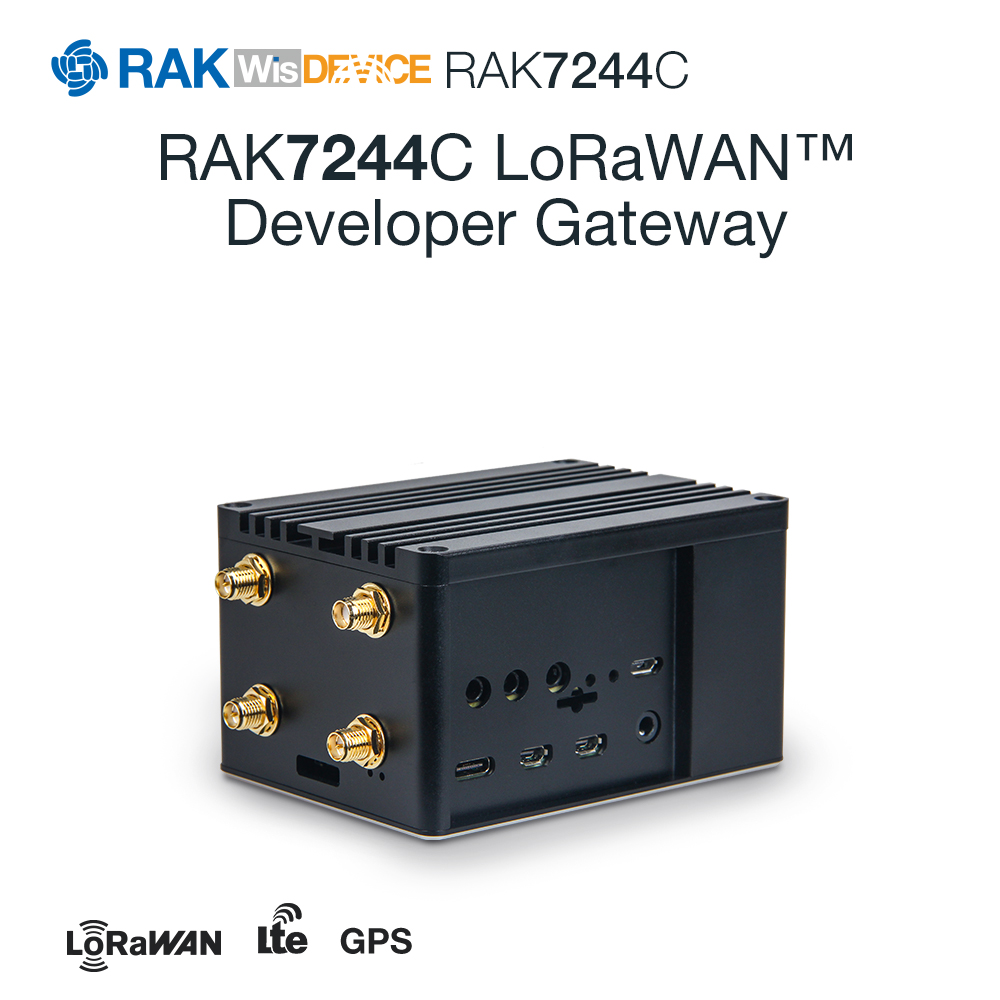 RAK7244C LoRaWAN Developer Gateway Raspberry Pi 4 RAK2245 Pi HAT Module Include GPS LTE Antenna Heat Sink IP30 Aluminium Casing