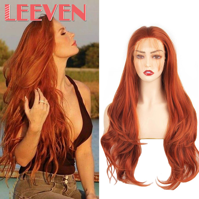 Leeven peluca con malla frontal rojo cobrizo largo ondulado, sintética, 24 pulgadas, rosa, naranja, morado, pelucas con minimechones, peluca de jengibre rubio 613