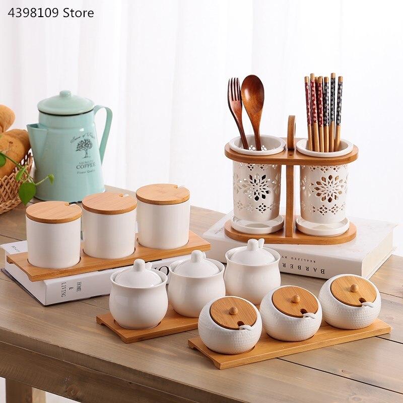 Sugar Bowl Bottle Storage-Jar Utensils Seasoning-Box-Set Ceramic Kitchen Household Creative