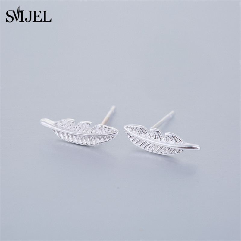 SMJEL New Arrival Bohemian Small Tiny Feather Stud Earrings for Women Lovely Leaf Earring Brincos Brinco Wedding Gifts