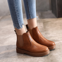 Chelsea Boots Brown Ankle For Women Black Shoes 2019 New Spring Autumn Fashion Slip On Combat