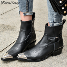 Buono Scarpe Metal Toe Women Ankle Boots Punk Black Western Short Botas Mujer Embroidery Strap Leather Boots Motorcycle Booties