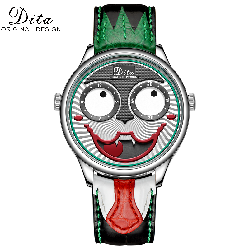 DITAWATCH Fashion Funny Mens Watches Top Brand Luxury Big Dial Joker Quartz Watch Leather Waterproof Sport Chronograph Watch Men