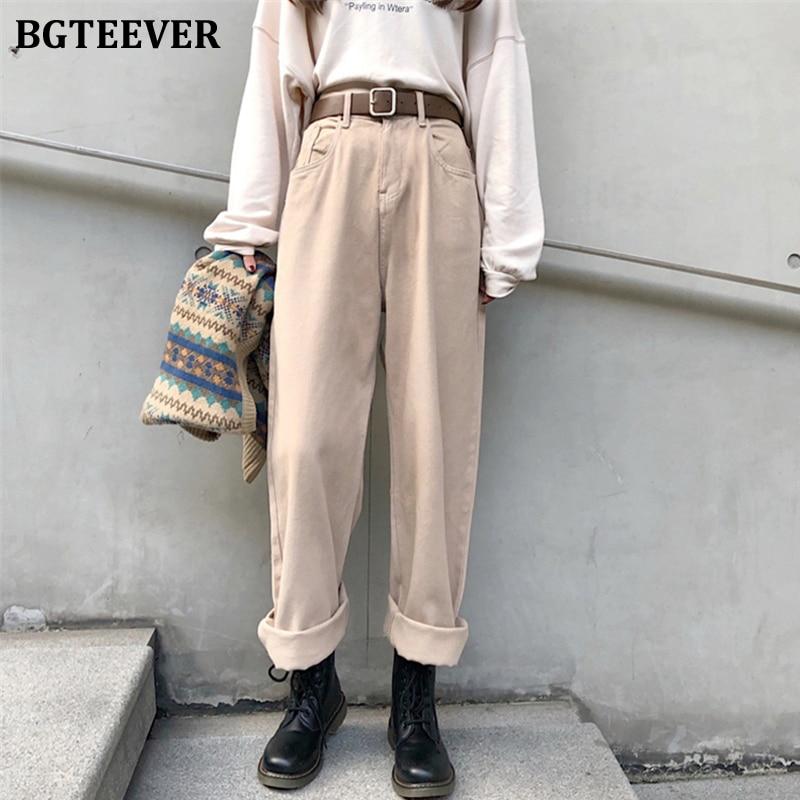 BGTEEVER Vintage Jeans For Women Denim Jeans High Waist Straight Women Jeans Autumn Winter Loose Female Long Pants Trousers 2019