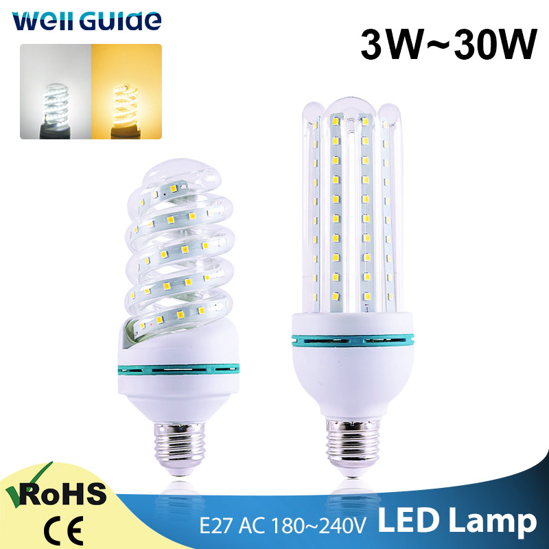 LED Bulb E27 E14 LED Lamps 30W 20W 16W 12W 9W 5W 2835SMD AC 220V 240V Lampara Energy-saving Led Corn Lamp Table Light Bombillas